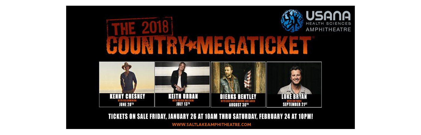 2018 Country Megaticket Tickets (Includes All Performances) at USANA Amphitheater